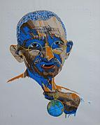 Portrait Tapestries - Textiles Posters - Peace Portrait Four Gandhi Poster by Barbara Lugge