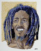 Portraits Tapestries - Textiles Metal Prints - Peace Portrait One Bob Marley Metal Print by Barbara Lugge