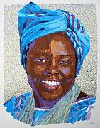 Portraits Tapestries - Textiles Metal Prints - Peace Portrait Three Wangari Maathai Metal Print by Barbara Lugge