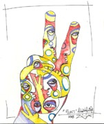Contemporary Abstract Art Drawings - Peace by Robert Wolverton Jr