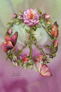Floral Mixed Media Metal Prints - Peace Rose Metal Print by Carol Cavalaris