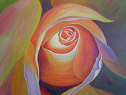 Flower Center Paintings - Peace Rose by Marcia  Hero