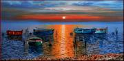 Tuscan Sunset Paintings - Peace sea by Orsucci