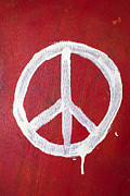 World Peace Art - Peace sign on red wooden wall by Garry Gay