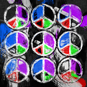 Peace Digital Art - Peace Signs Abstract by David G Paul
