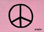  Hippie Painting Prints - Peace Tablet Pink Print by Lourdes  SIMON