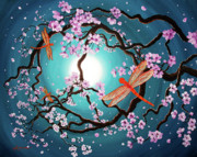 Zenbreeze Paintings - Peace Tree with Orange Dragonflies by Laura Iverson