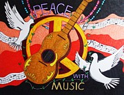 Guitar Drawings Posters - Peace with Music Poster by Steve Boisvert