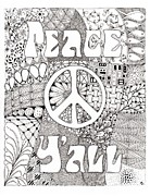 Zia Drawings - Peace Yall by Paula Dickerhoff