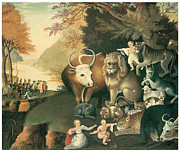 American Painters Framed Prints - Peaceable Kingdom Framed Print by Edward Hicks