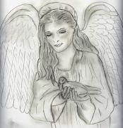 Angel Drawings - Peaceful Angel by Sonya Chalmers