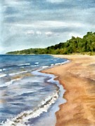 Picturesque Digital Art Prints - Peaceful Beach at Pier Cove ll Print by Michelle Calkins