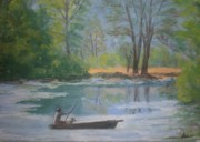 Rowboat Pastels - Peaceful Day on Watchung Lake by Susan Haiken
