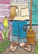 Peace Drawings - Peaceful Gardener by Barbra Drasby