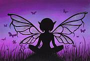 Purple Painting Posters - Peaceful Meadows Poster by Elaina  Wagner