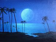 Sea Moon Full Moon Painting Metal Prints - Peaceful Moonlit Night Metal Print by Michael Odom
