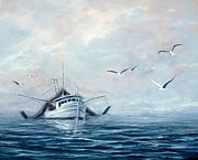 Shrimp Boat Paintings - Peaceful Morn by Gary Partin