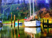 Docked Sailboat Posters - Peaceful Morning In The Cove Poster by Brian Wallace