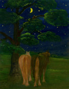 Folkartanna Painting Metal Prints - Peaceful Night Metal Print by Anna Folkartanna Maciejewska-Dyba