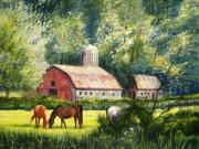 Barn Painting Posters - Peaceful Pasture Poster by Shirley Braithwaite Hunt