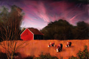 Barn Digital Art Posters - Peaceful Pasture Poster by Suni Roveto