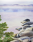 Lake Tahoe Paintings - Peaceful Place Morning at The Lake by Irina Sztukowski