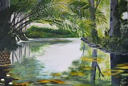 Stellenbosch Painting Posters - Peaceful Pond Poster by Tessa Dutoit
