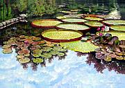 Water Lilies Paintings - Peaceful Refuge by John Lautermilch