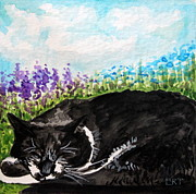 Furry Felines Painting Prints - Peaceful Slumber Print by Elizabeth Robinette Tyndall