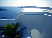 Greetingcard Framed Prints - Peaceful Sunset Santorini Framed Print by Colette V Hera  Guggenheim