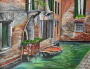 Italian Landscape Painting Originals - Peaceful Venice Canal by Charlotte Blanchard