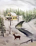 Hunting Cabin Painting Framed Prints - Peaceful Winter Day Framed Print by Timothy Smith