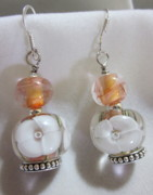 Peach Jewelry Originals - Peach and White Flower Earrings by Janet  Telander