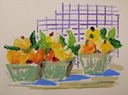 Peaches Painting Prints - Peach Baskets Print by John  Williams