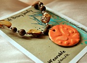 Necklace Ceramics - Peach Butterfly Imprint Necklace by Amanda  Sanford