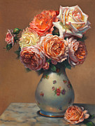 Shield Posters - Peach Roses in Porcelain Poster by Lyndall Bass
