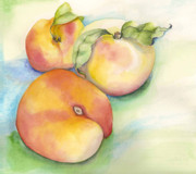 Peaches Painting Prints - Peach Time Print by Nadine Dennis