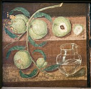 Peaches Art - Peaches And A Glass Jug, Roman Fresco by Sheila Terry