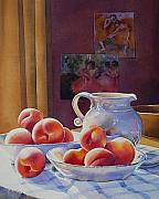 Pottery Pitcher Originals - Peaches and Cream by Barbara Fox