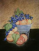 Peaches Drawings Posters - Peaches and Grapes Poster by Patricia R Moore