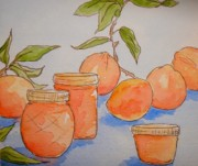 Peaches Painting Prints - Peaches And Jam Print by Sarah Tule