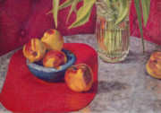 Peaches Pastels Prints - Peaches and Nectarines Print by Kathryn Donatelli