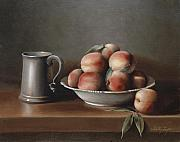 Pewter Paintings - Peaches and Pewter by Shelley  Thayer Layton