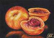 Colored Background Drawings - Peaches by Christine Karron