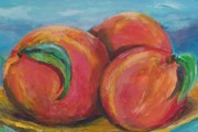 Fruit Trees Drawings - Peaches by Eric  Schiabor