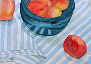 Peaches Prints - Peaches In A Blue Bowl Print by Pat Slavek
