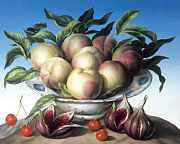 Fruit Bowl Paintings - Peaches in Delft bowl with purple figs by Amelia Kleiser