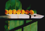 Ripe Pastels Posters - Peaches on a Ledge Poster by Elise Okrend