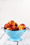 Colander Framed Prints - Peaches Framed Print by Stephanie Frey