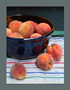 Peaches Photo Framed Prints - Peaches with Striped Cloth-II Framed Print by Patricia Overmoyer